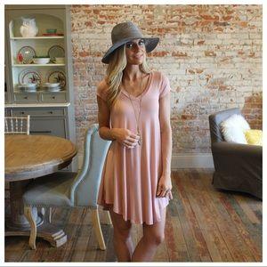 Blush V neck tee dress